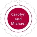 Cosmopolitan Scallop Hang Tag In Deep Red | Taylor Street Favors
