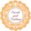 Filigree Scallop Hang Tag In Tangerine | Taylor Street Favors