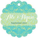 Henna Scallop Hang Tag In Pale Green & Turquiose | Taylor Street Favors