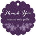 Lucky In Lace Scallop Hang Tag In Purple | Taylor Street Favors